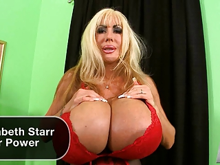 Big boobed Liz Starr shows off her chest